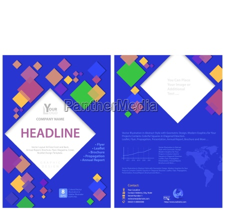 blue flyer template with colorful squares