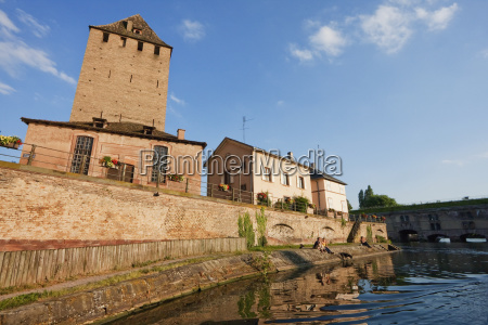 medieval watchtower on the banks of