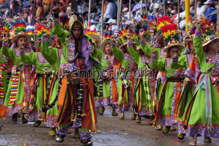 pujllay dancers in the procession of