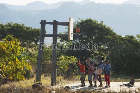 children playing basketball in ranohira fianarantsoa