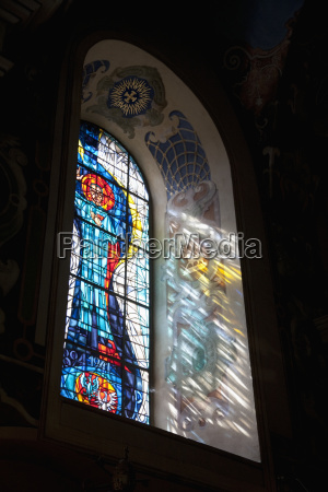 stained glass window in the basilica