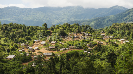 mountain hmong hill tribe village luang