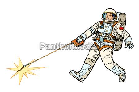 astronaut und haustierstern isolat auf weissem