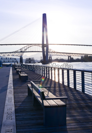 benches along the waterfront with a