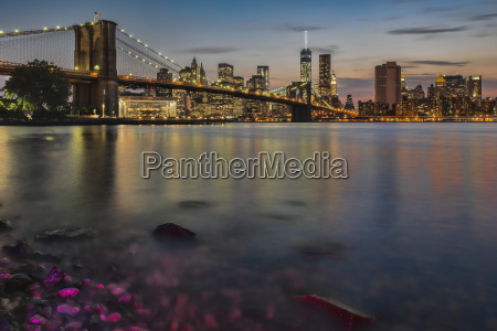 lower manhattan at twilight with the