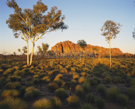 outback australia with rock formation in