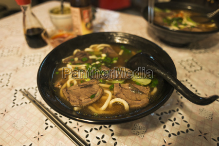 traditional taiwanese beef noodle soup made