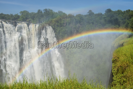 victoria falls with rainbow livingstone zambia