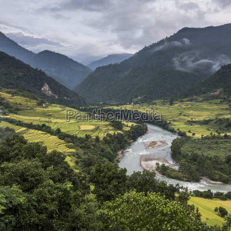 a river flowing through a valley