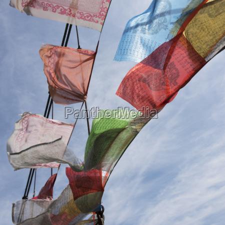 colourful prayer flags thimphu bhutan