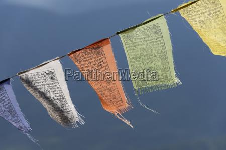 colourful prayer flags paro bhutan