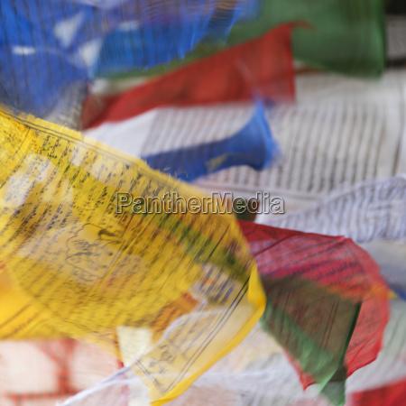 colourful prayer flags thimpu bhutan