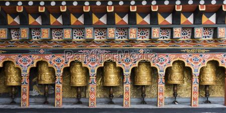 prayer wheels punakha bhutan