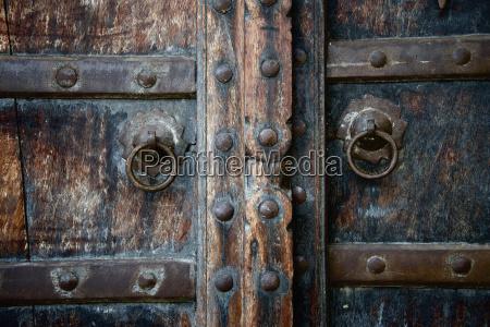 close up of old wooden door