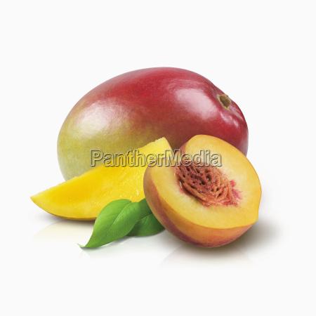 mango and half of a peach