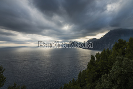 storm clouds over the mediterranean along