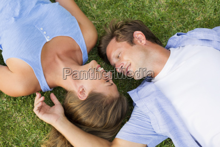 portrait of happy young couple outside