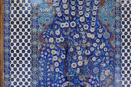 colourful tile mosaic in a mosque