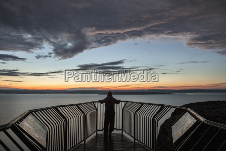 lookout over lake superior at sunset