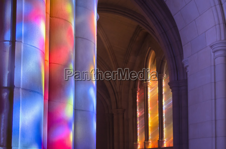 light streaming through stained glass windows
