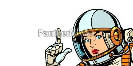 astronautfrau die finger oben isolat auf