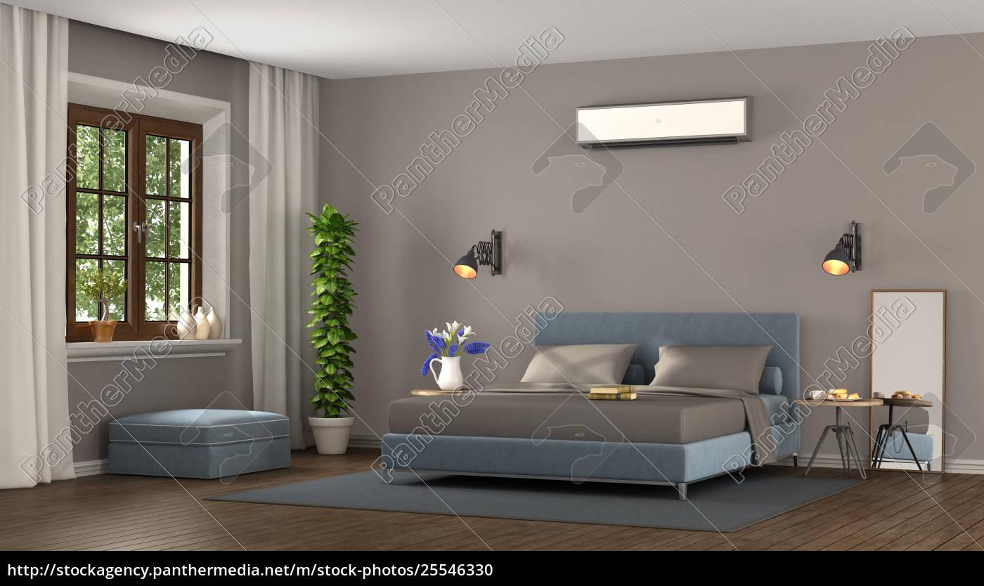 blaues und braunes modernes schlafzimmer - Stock Photo - #25546330 ...