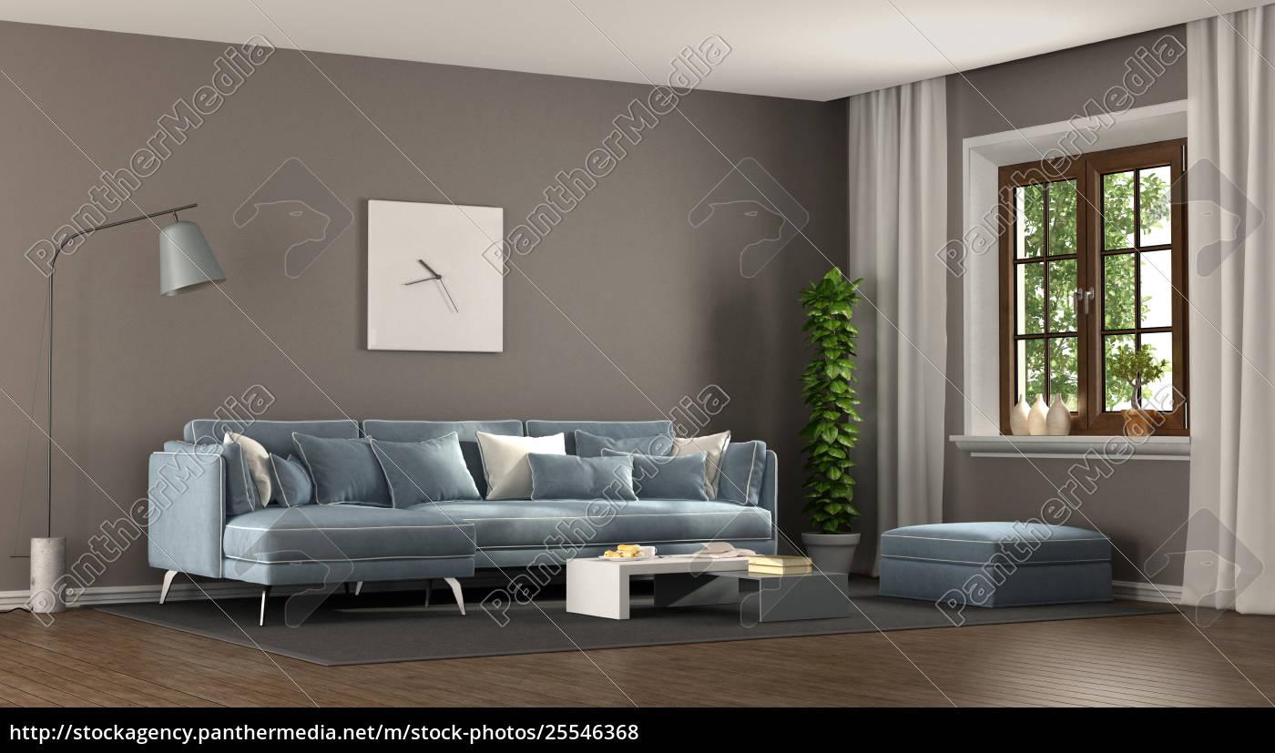 Lizenzfreies Foto 25546368   Elegantes Wohnzimmer In Braun Und Blau
