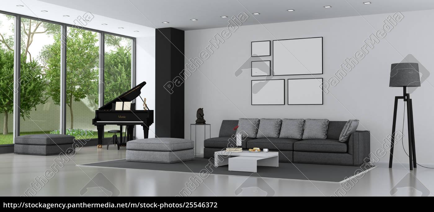 Lizenzfreies Foto 25546372 Modernes Wohnzimmer Mit Sofa Und Flugel