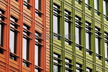 colourful building facades in orange and