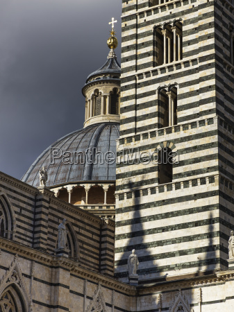 striped facade and dome roof of