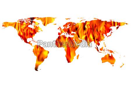 weltkarte und brand flammen
