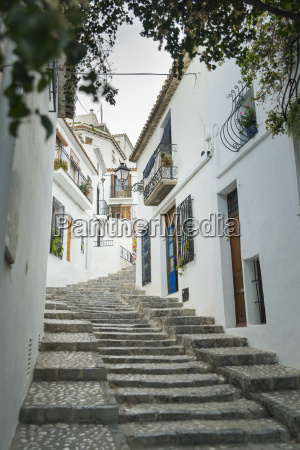 steps up a sloped street in