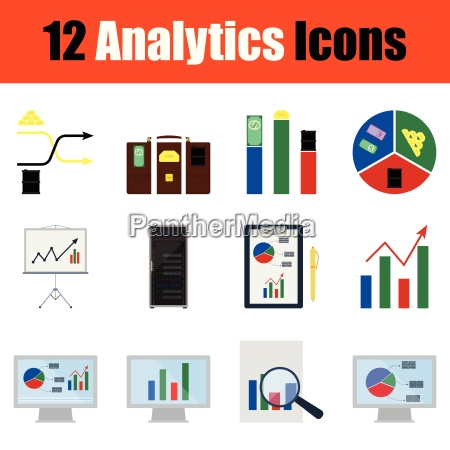 flat design analytics icon set