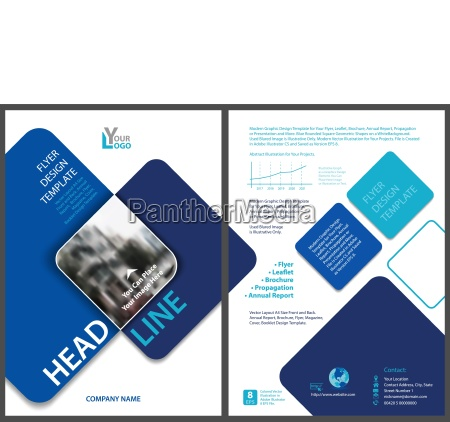 flyer template with blue rounded squares