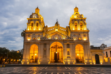 fully lit south american church and