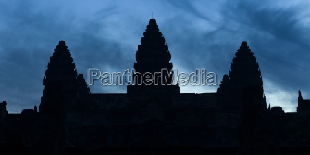 silhouette of the buddhist structures in