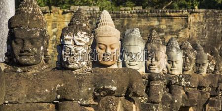 buddhist, statues, , south, gate, , angkor, thom; - 25568477
