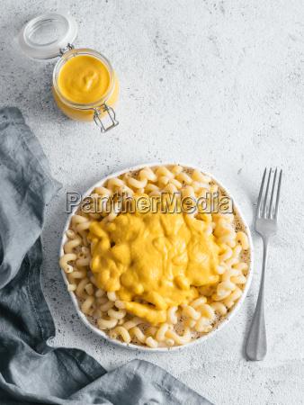 pasta with vegan creamy chia cheddar
