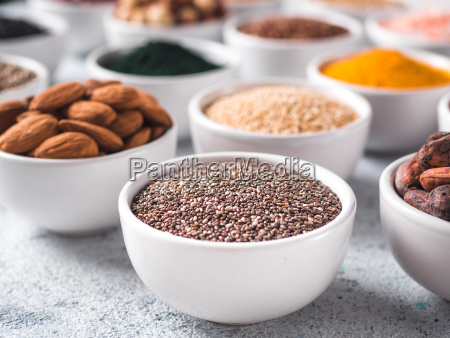 chia seeds in small white bowl