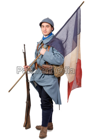 french soldier 1914 1918 with flag