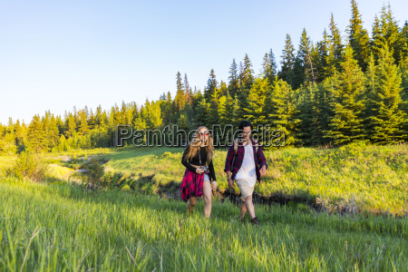 young couple walking together on a