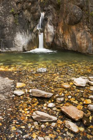 a double waterfall between dark rock