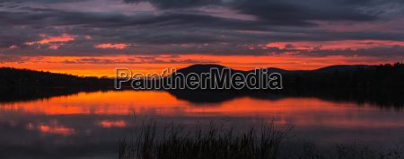 sunset with vibrant colours reflecting on