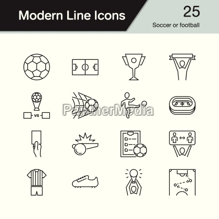 soccer or football icons modern line