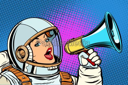 pop art background woman with megaphone