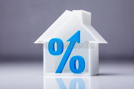 percentage symbol inside house model