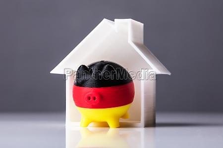 close up of piggybank with german