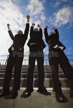 cheering businessman