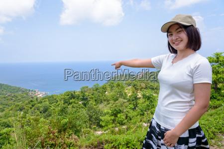 frau tourist eiland touristin landschaftsbild landschaft