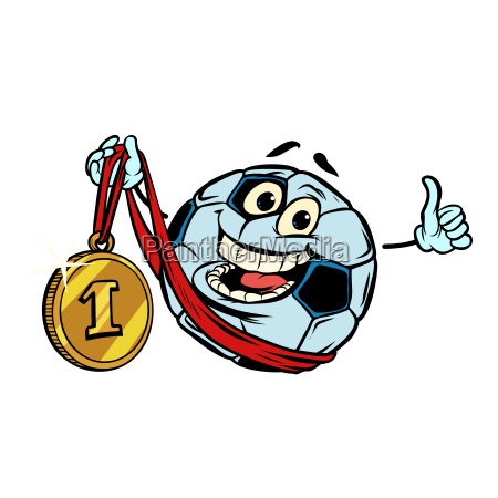 winner first place character soccer ball